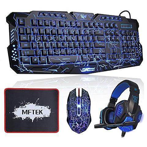 Gaming Tastatur, MFTEK USB Verdrahtet Hinterleuchtet Rot/ Blau/ Lila QWERTY US-Layout Tastaturen mit 4 Farben Gaming Maus und Kopfhörer für PC Gamer, Maus-Pad