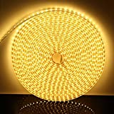 230V LED Band, wasserfest Strip, IP65 Wasserdicht Lichtband, high bright 3-Chips SMD, Super helle Streifen mit An / Aus Schalter für Innen Außen Hochzeit Weihnachten Dekolicht [Warmweiß, 2m]
