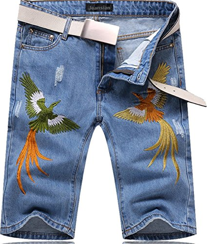 jeansian Herren Fashion Summer Shorts Jeans Knee Length Denim Slim Fit Casual Short Pants Trousers MJB071 Lightblue