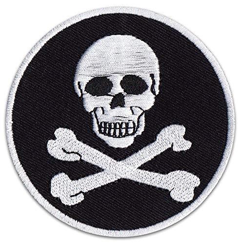 Piratenflagge Aufnäher Aufbügler Patch Jolly Roger Piraten Totenkopf Rocker Karneval Bügelbild Kutte Biker -