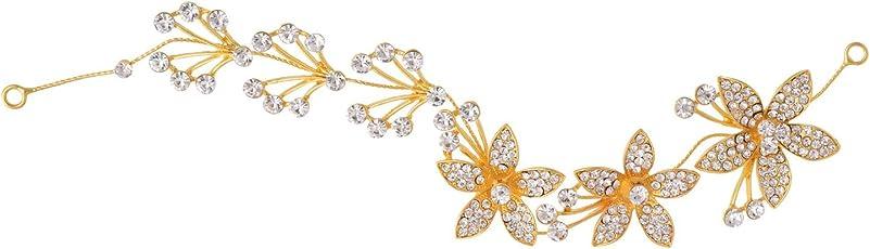 Aaishwarya Dazzling Golden Floral Crystal Bridal/Wedding Hair/Head Band Party wear Tiara for Women & Girls