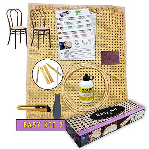 Paglia di vienna per sedie e sgabelli   kit per riparazione - facilcasa - sostituzione, ricambio, retina, sedute con tessuto di giunco, manuale 5 lingue cm. 90x46 - (2 kit per 2 sedute)