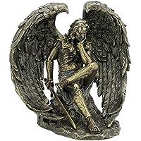Caduto.Statuetta angelo Lucifero con spada bronzata Scultura Satan diavolo - Angelo Scultura