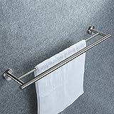 Doppelter Handtuchhalter, Dailyart Badezimmer Handtuchstange Bad Ohne Bohren für Wandmontage - Handtuchhalter zum Kleben Einfache Montage, Edelstahl, 70cm