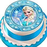 Cannellio Cakes Eiskönigin ELSA Tortendekoration, vorgeschnitten, essbarer Zuckerguss