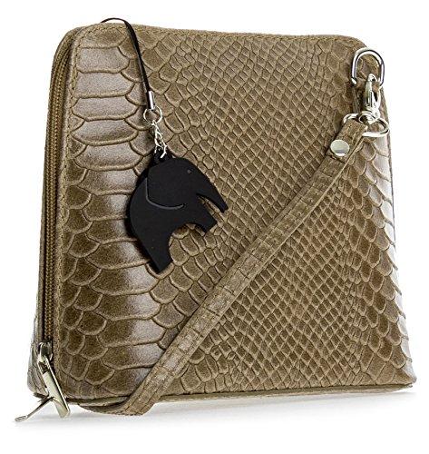 Big Handbag Shop , Damen Umhängetasche Einheitsgröße Snake - Taupe