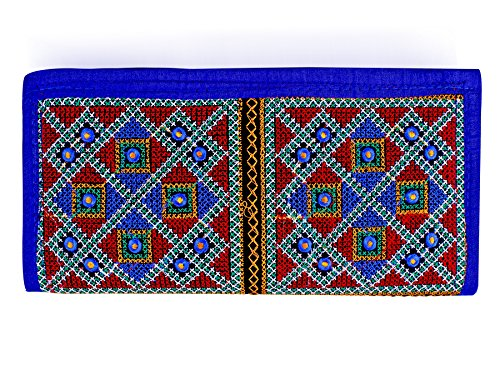 Para Ladies Traditional Hand Clutch Women Embroidery Wallet, Blue  available at amazon for Rs.299