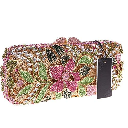 Damen Clutch Abendtasche Handtasche Geldbörse Funkelt Glitzer Kristall Luxus Blüte Lang Tasche mit wechselbare Trageketten von Santimon(4 Kolorit) Mehrfarbig