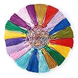 NBEADS 20 piezas sedosas borlas colgantes para pendientes llavero teléfono celular correas marcadores proyectos de bricolaje, color mezclado