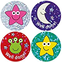 Sparkly mixed praise stickers, pack of 54. 28mm