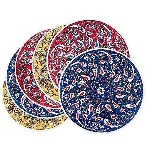 Bascuda Keramik-Untersetzer-Set für Gläsern, Tassen und Bechern, dekorative Keramikfliesen Design, 6 Stück - schöne Geschenkidee  - Türkische Keramik