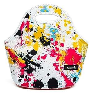 CrazyFire Neopren Lunch Tasche,Isolierte Lunch-Taschen,Großes Fassungsvermögen Food Behälter mit Reißverschluss-Design für Reisen, Picknick und Täglichen Gebrauch Hält Lebensmittel Frisch