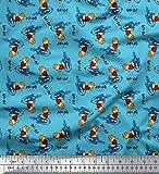 Soimoi Bleu Popeline de Coton en Tissu Texte, Ballon de Rugby et Oiseau Dessin animé Tissu Imprime par Metre 56 Pouce Large