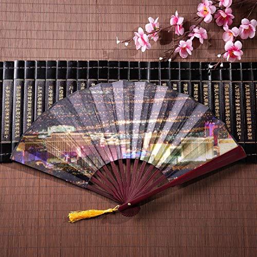 ten Las Vegas Avenue Nevada Usa Nacht Mit Bambusrahmen Quaste Anhänger Und Stoffbeutel Papier Fan Falten Mode Hand Fan Faltbare Hand Fan ()