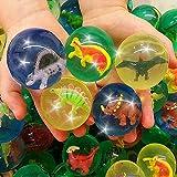 German Trendseller - 12 x Große Dinosaurier Springbälle - Mix ★ Neu ★ ┃ ++ Gratis Dino in Jedem Ball ++ ┃ Kindergeburtstags Mix ┃ Super Sprungkraft ✔ ┃ 12 Stück