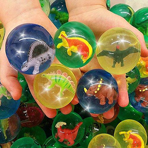 Preisvergleich Produktbild German Trendseller® - 12 x Große Dinosaurier Springbälle - Mix  NEU   ++ Gratis Dino In jedem Ball ++  Kindergeburtstags Mix  SUPER Sprungkraft   12 Stück