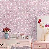 Wopeite Papier-Peint Auto-Adhésif Rose Décolez et Posez DIY Bricolage Amovible Décoratif Petites Fleurs Blanches Chambre d'Enfants Séjour Salon