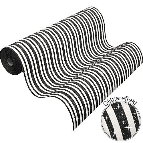 Preisvergleich Produktbild Vliestapete Streifen schwarz weiß Glitzer Tapete PS Hypnose 13397-70