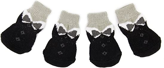 Generic Black Bowknot Pet Dog Puppy Cat Shoes Slippers Non-Slip Socks with Paw Prints Size M