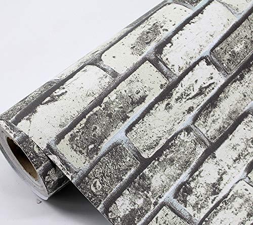 Selbstklebende Folie Selbstklebende Tapete Ziegel Holzmaserung 3D antike Ziegel Hotel PVC Tapete 60 x 300 cm - Ziegel Grau Tapete