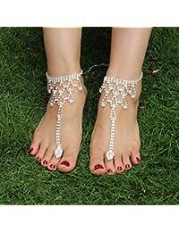 ulofpc Múltiples capas Decoración retro Tobilleras Borlas Playa Cadenas de tobillo Sandalias descalzas con anillos de