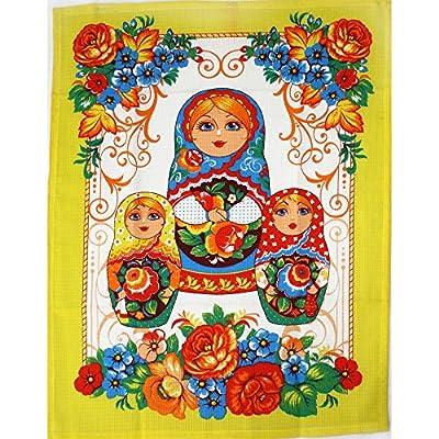"""Küchentuch, Geschirrtuch """"Matroschka auf gelb"""" Baumwolle Format 60cm X 40 cm"""