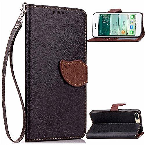 Custodia iPhone 7 Plus(Slot per Schede), BasicStock Flip PU Pelle Leaf Design Portafoglio Notebook Case Pouch with Card Holder/Kickstand Magnetico Snap Cover Copertura(Nero)