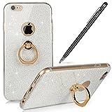 Apple iPhone 6S Plus Hülle,iPhone 6S Plus Silikon Hülle,WIWJ Kristall Bling Glänzend Glitzer Durchsichtig Klar TPU Silikon Hülle Schutzhüllefür iPhone 6S Plus -Weiß