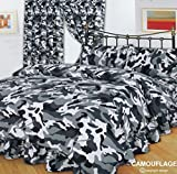 Doppelbett Camouflage Schwarz,/Bettbezug Bettwäsche-Set, Army Print, schwarz/grau/weiß