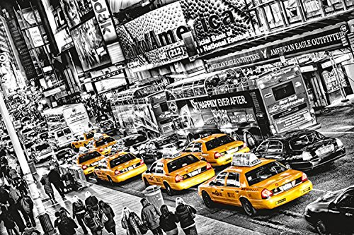 Manhattan Times Square (Fototapete CABS QUEUE 366x254cm yellow Taxi New York gelb Times Square Manhattan)