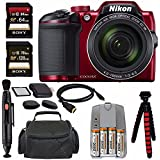 """Nikon COOLPIX B500 Digital Camera (Red) + NiMH Batteries And Charger Set + Sony 64GB SDXC Card + Sony 128GB SDXC Card + Memory Card Reader + Tripod + 6"""" HDMI To Micro HDMI Cable Bundle"""