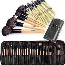 Cadrim Set di Pennelli per trucco, setole sintetiche e manico in legno, strumento cosmetico professionale, 24pezzi con set da viaggio (Sabbia)