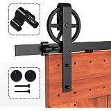 CCJH Schuifdeursysteem Spaakwiel Zwart, Schuifdeurbeslag, 8FT-246cm Schuifdeur railsysteem loftdeur systeem met hangrollen