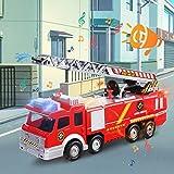 FUNTOK Feuerwehrauto, Spielzeugauto Action Series Fire Truck, Feuerwehrfahrzeug Feuer LKW Auto Spielzeug mit Drehleiter Wasserpumpe Light und Sound für Kinder Test