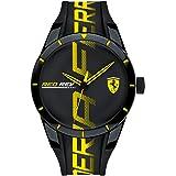 Ferrari Men's RedRev Quartz Plastic and Silicone Strap Casual Watch, Color: Black (Model: 830615)