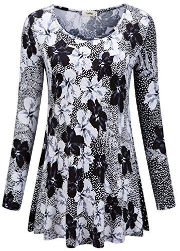 KorMei Damen Swing A-Linie Asymmetrisch Tie-Dye Stretch Langarmshirt Hemd Tunika Schwarz&Weiß 2XL (Stretch-jeans Besten Am)