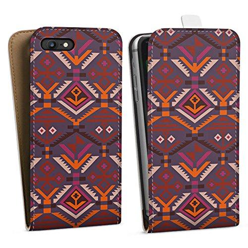 Apple iPhone X Silikon Hülle Case Schutzhülle Ethno Herbst Azteken Muster Downflip Tasche weiß