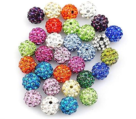 TRIXES Bijoux Perles Colorées de Bricolage Parsemées de Strass Couleurs Variées