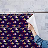 AZ Colourful Fishes Washable Waterproof Shower Curtain 54 x 72inch; SET OF 2 PCS