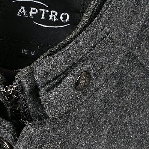 APTRO Homme Manteau Grande Promotion Grand abaissement du Prix Grand solde en Laine Mince Ajusté Mode 1108 Gris