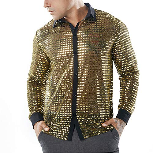 Herren 70er Jahre Dancing King Disc Button-Down-Shirts Hochzeitsfeier Nachtclub Slim Fit Langarm-Businesshemd Pailletten Bling Hollow Shirt Top Bluse,Gold,L