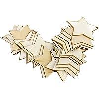 ForuMall - Lot de 25 étoiles en bois brut avec un trou, pour les loisirs créatifs 80mm