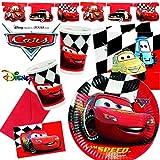 Dekospass - Juego de decoración para fiestas (101 piezas, para cumpleaños infantiles con entre 6 y 8 niños: platos, vasos, servilletas, invitaciones, banderín, globos, serpentinas y mucho más), diseño del coche de carreras Rayo McQueen de la película de Disney Cars 2