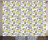 ABAKUHAUS Zitrone Rustikaler Gardine, Graustufen- Frühling Baum AST, Schlafzimmer Kräuselband Vorhang mit Schlaufen und Haken, 280 x 260 cm, Grau, Gelb, Weiß