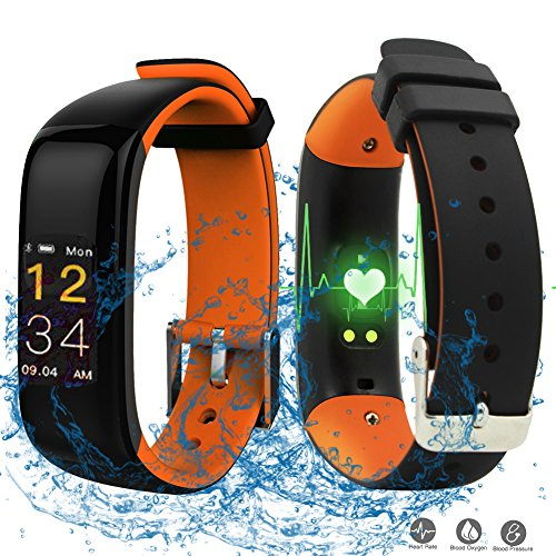 Pulso Reloj con Tensiómetro, roguci Multicolor OLED 0.96pulgadas podómetro pulsera de actividad Tracker–Rastreador de fitness con conexión Bluetooth de cronómetro y Smart Watch funciones para Android/iOS, color naranja
