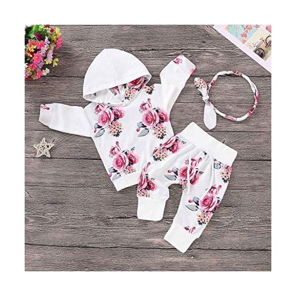 Ropa NiñOs NiñA Bebé Manga Larga Estampado Floral Camiseta Tops CháNdal Sudaderas con Capucha + Pantalones Trajes… 2