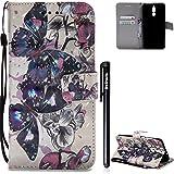 Huawei Mate 10 Lite Hülle,BtDuck Slim Weich Silikon Back Case Schutzhülle Brieftasche Mädchen Handyhülle Huawei Mate 10 Lite Tasche Magnet Schutzhülle Damen Geldbörse Case Schwarz Schmetterling