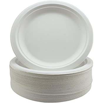 Super Rigid Paper Plates - Extra Strength White Disposable Bagasse Plates - Eco-Friendly, Biodegradable and Compostable - 9 inch - 50 Pack - Perfect for Picnics, BBQs,and Parties
