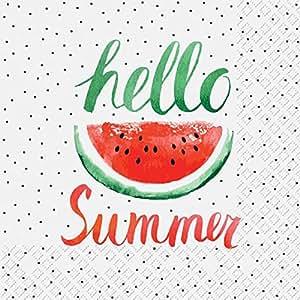 Servietten Prägung Text Sommer Party Melone 20 Stück 3-lagig 33x33cm