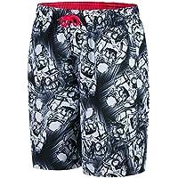Speedo 413303244 - Pantalón Corto de Agua para Ocio, Color Black/White/Lava Red, tamaño Medium